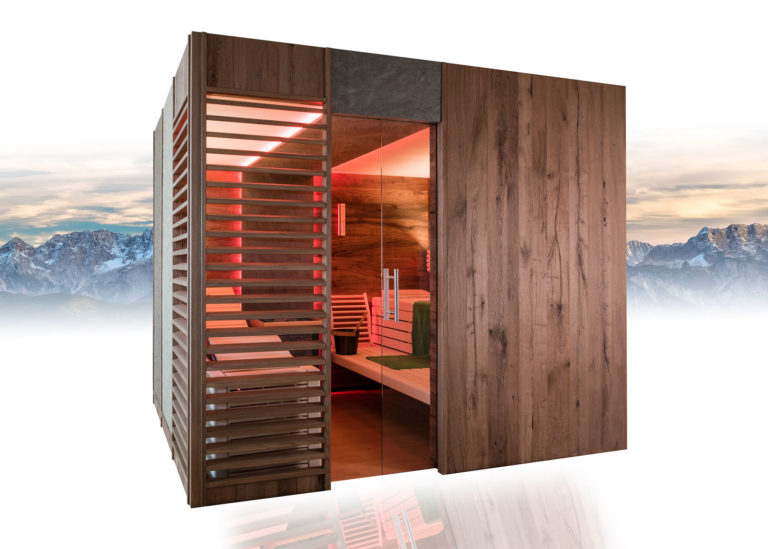 Aussenansicht Sauna mit Designelementen