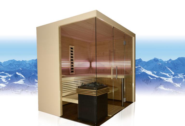 Sauna mit viel Glas und Ofen