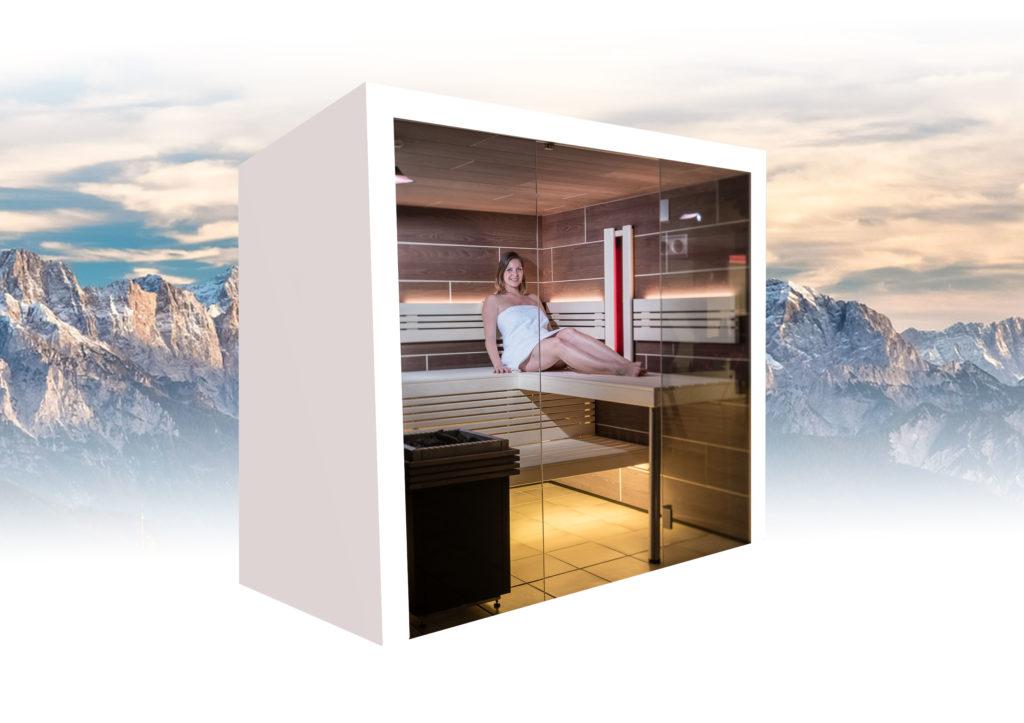 Panorama Sauna mit Infrarotstrahler